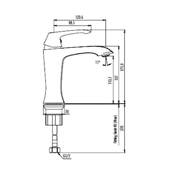 AVANGART 1500 - Μπαταρία μπάνιου νιπτήρος-διαστάσεις