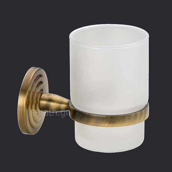 Αξεσουάρ μπάνιου BRASS - Ποτηροθήκη τοίχου μπρονζέ