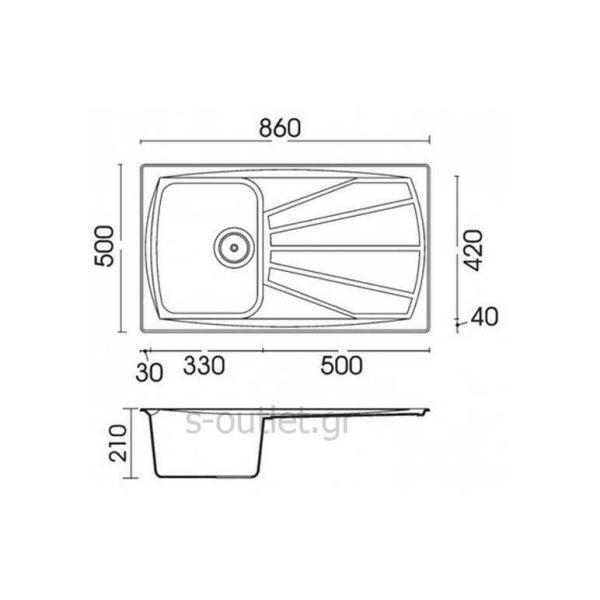 ELLECI WOLF 400 - Νεροχύτης κουζίνας - διαστάσεις